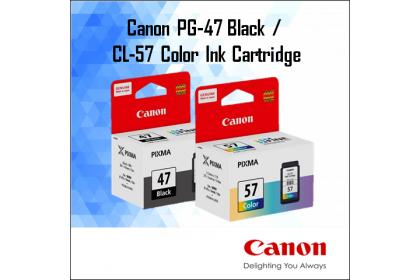 CANON PG-47 Black / CL-57 / CL-57s Colour / (1+1) PG-47 + CL-57 Combo Ink Cartridge